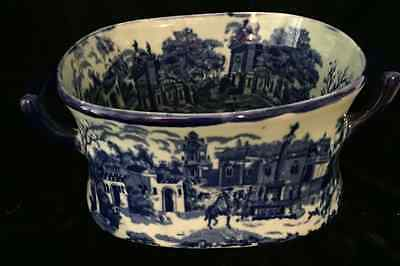 Vintage Victoria Ware  Ironstone Flow Blue Town Scene SQUARE Bowl WITH HANDLES