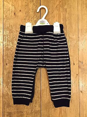 2 Pairs M&S Baby Toddler Boys Tracksuit Bottoms 12-18 Months Striped And Navy