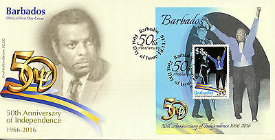 Barbados 2016 FDC Independence 50th Anniv Errol Walton Barrow 1v MS Cover Stamps