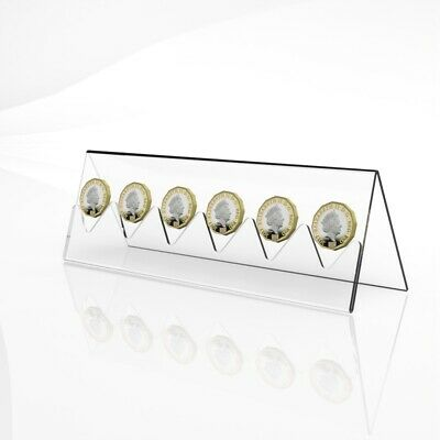 6 Coin Display Rack / Coin Collector Holder / Clear Acrylic Coin Display Stand