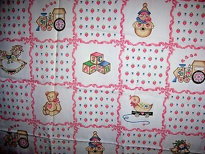 "Vintage Children Novelty FABRIC Toys Pink Ribbon Quilt 44"" x 62"""