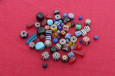 Vintage Antique Chevron Trade Beads Lot Multilayer Handmade Traditional Ethnic
