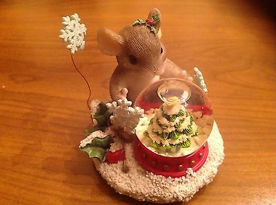 """Fitz and Floyd  Charming Tails Figurine """"May All Your Christmases Be White"""