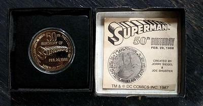 50th Birthday of Superman 24 Kt. Gold Plated Bronze Medallion