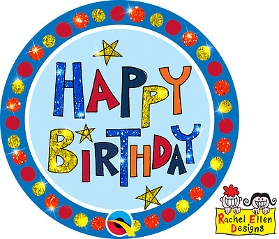 Happy Birthday Multi Colourful Large Badge Rachel Ellen Qualatex