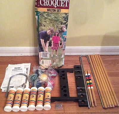 NEW Vintage Forster Wilton 6 Player Croquet Set With Stand GREAT GIFT!  #03584