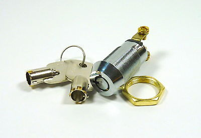 "5/8"" On/Off Tubular Key Switch Lock SPST Key Removable On Or Off  Position"