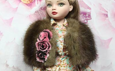 ~Brown Genuine Mink Fur Capelet, w/ Flowers 4 Sydney Ellowyne Wilde doll~dimitha