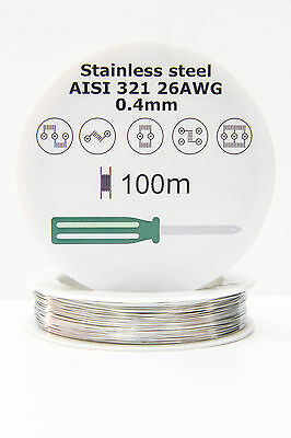 Stainless Steel SS AISI 321 wire 26 AWG 0.4mm resistance coil, 100m 328ft spool