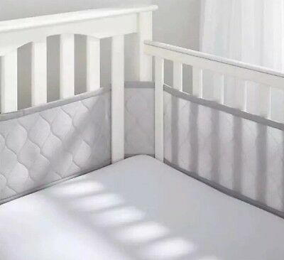 Breathable Baby DELUXE Embossed Mesh Crib Liner GRAY NEW Bumper Pad Boy Girl