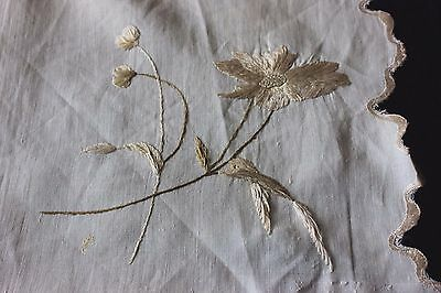 Antique Victorian Society Silk Hand Emb Flowers On Linen Napkin Or Mat c1890~
