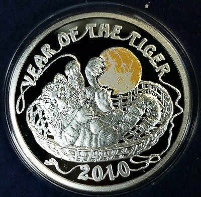 2009 Niue Islands Year Of The Tiger 2010 $1 Dollar Silver Proof Coin Dbw
