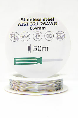 Stainless Steel SS AISI 321 wire 26 AWG 0.4mm resistance coil, 50m 164ft spool