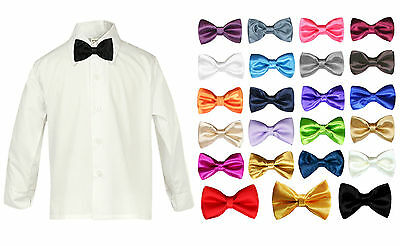 Toddler Baby Boy Formal Party Tuxedo Suit White Dress Shirt Color Bow tie SM-4T