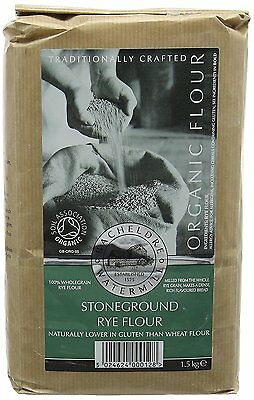 Bacheldre Watermill Organic Stoneground Rye Flour 1.5 kg Pack of 4