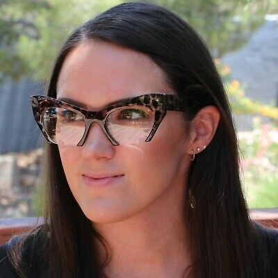 Cat Eye Eyeglasses Women Retro Vintage Razor Clear Lens Style Half Cut Off Frame