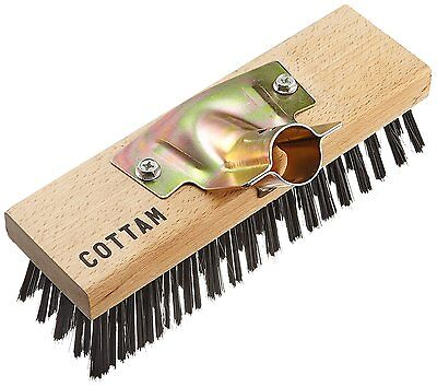 COTTAM IWI00055 9-Inch Heavy Duty Steel Wire Broom Head with Wooden Back and -