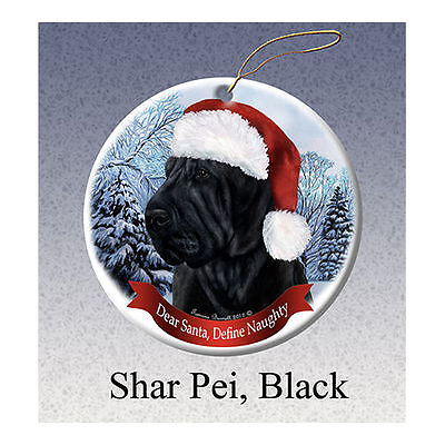Shar Pei Black Howliday Porcelain China Dog Christmas Ornament