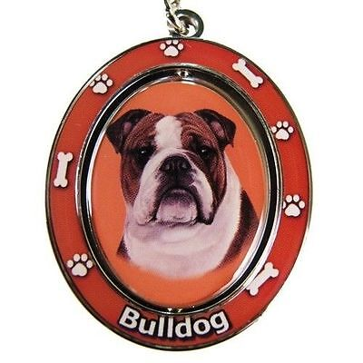English Bulldog Dog Spinning Key Chain Fob