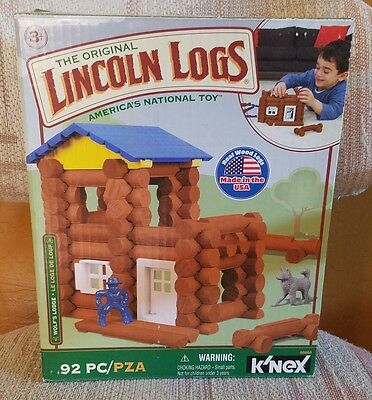 Lincoln Logs Wolf's Lodge Cavalry Office Wolf Figure 92 Piece Set