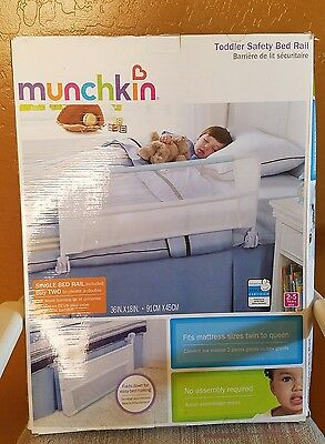 New Munchkin Toddler Safety Bed Rail White and Light Blue