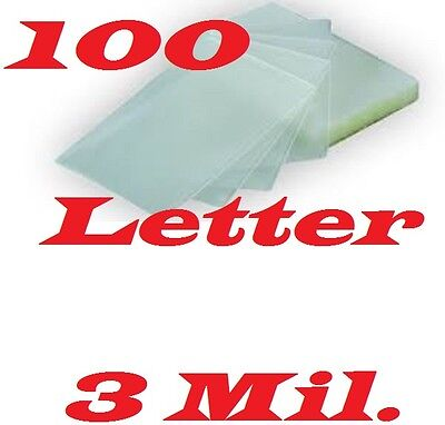 Laminating Pouches Sheets 100/pack Letter Size 9 x 11-1/2   3 Mil Free Carrier