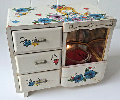 Vintage Japan Girls Wood  Ballerina Mirror Musical Jewelry Box w/ Drawers