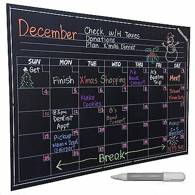 Wall Calendar - Large Chalkboard Decal. Smart Monthly Dry Erase Planner. & Easy