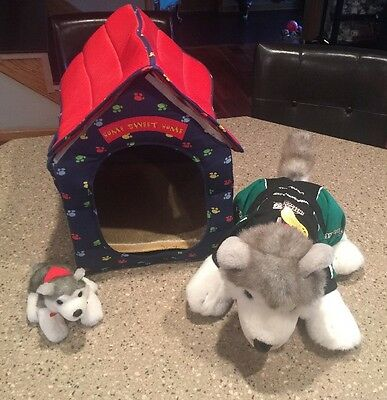Build a Bear BAB PLUSH HUSKY DOG puppy House & Interstate Batteries Racing LOT
