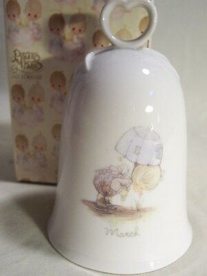 Vintage 1985 Precious Moments March Monthly Bell W/ Box - Euc