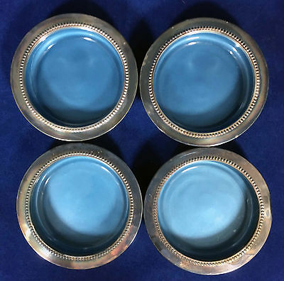 Four (4) Vintage W. & S. Blackinton Fine Silverplate Coasters with Blue Enamel