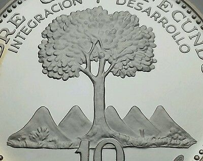 Costa Rica 10 Colones 1970. KM#192. Proof. Pure Silver Crown coin. Kapok Tree.