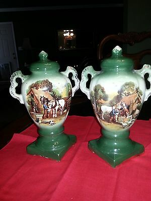 Pair of Vintage Stafforshire 2 Handle Green Glazed Mantel Urn