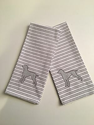 Two (2) Weimaraner  Dog Kitchen towels