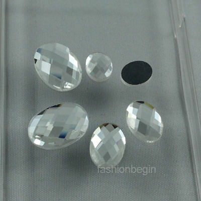 30p crystal clear faceted glass foiled flatback rhinestones oval Gems buttons pk