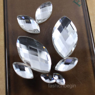 30 crystal clear faceted glass foiled flatback rhinestones navette Gems beads pk