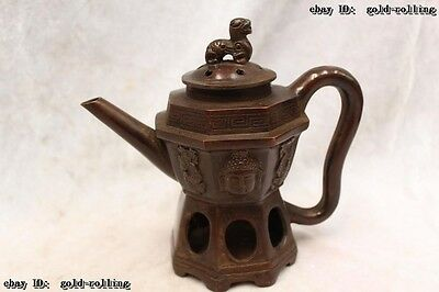 """8""""Chinese Purple Bronze carved excellent lifelike Buddha flagon water jug Statue"""