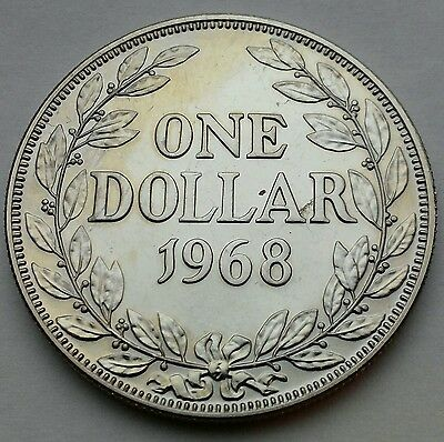 Liberia 1 Dollar 1968. KM#18a.2. Proof One Dollar coin. Crown size.