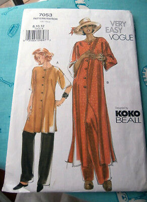 Oop Vogue Very Easy 7053 womans tunic caftan loosefitting pants size 8-12  NEW