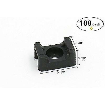 iExcell 100Pcs Black 4.5mm Width Cable Tie Base Saddle Type Mount Wire Holder