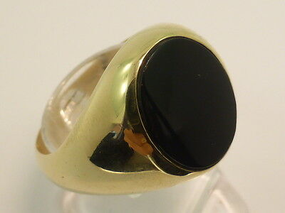 9ct Solid Yellow Gold & Black Onyx Mens Gents Dress Signet Ring size T