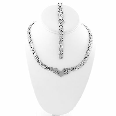 Stainless Steel Silver Tone I LOVE YOU Hugs & Kisses Set XO Necklace Bracelet 20