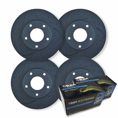 FULL SET DIMP SLOTTED DISC BRAKE ROTORS+ PADS for Nissan Patrol GU Y61 1997-2007