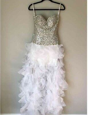 Sherri Hill Prom Evening Formal Wedding Strapless Long White Dress Gown, Size 6