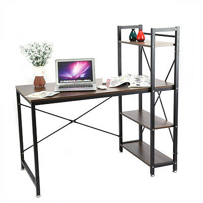 Home Office 4 Tier Shelving Computer Desk Student PC Workstation Laptop Table UK