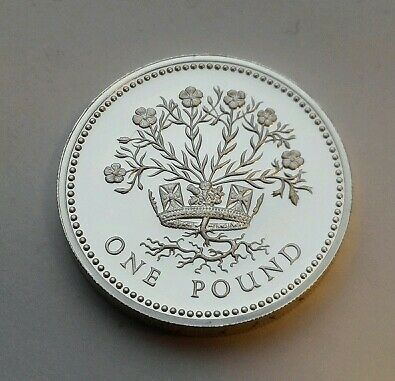 Great Britain,UK 1 Pound 1986.KM#946a.N.Ireland Bloomig Flax.Proof Silver coin.