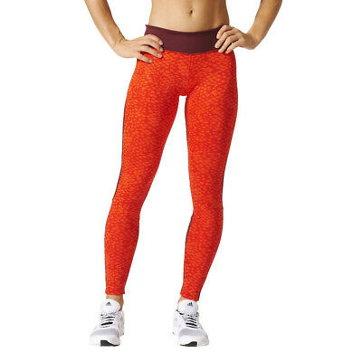 Adidas D2M P1 Womens Red Climalite Training Gym Long Tights Bottoms Pants
