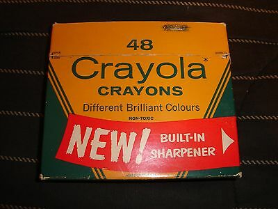 Vintage 1962 48 Crayola Crayons made in Canada with NEW Built-In Sharpener