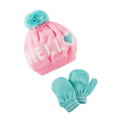 Carters Baby Clothing Outfit Girls Hello Hat & Mittens Set Pink