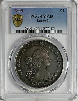 1803 $1 Draped Bust Dollar (Large 3) - PCGS VF35 Secure